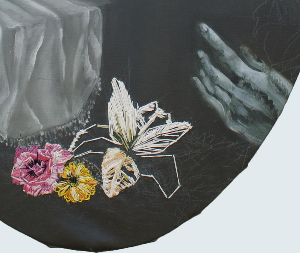 VAnité, peinture à l'huile et broderie sur toile