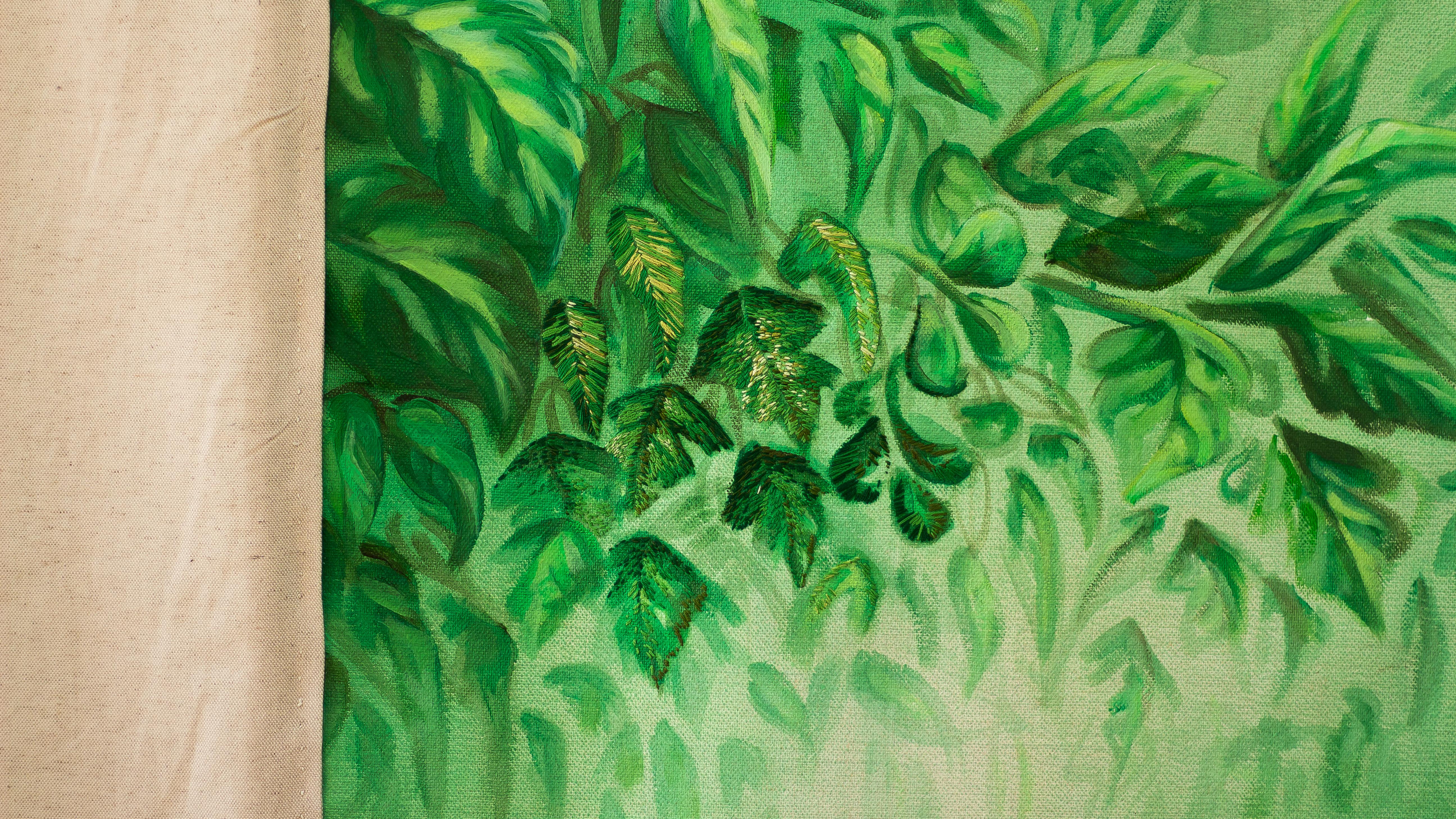 Sans titre (toile de fond), peinture à l'huile et broderie sur toile de lin et coton